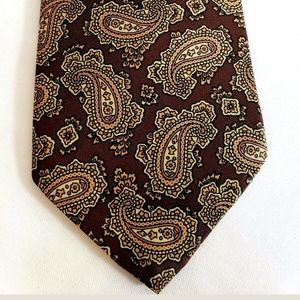 🍍 Webley Brown Paisley Black Label Mens Tie
